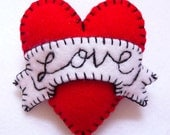 FB062 -  Hot Red LOVE Heart Shape Handmade Felt Brooch For Your Loved One - Made to order