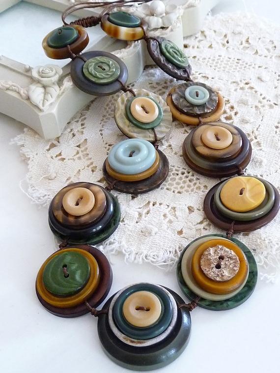On Sale ES310 - SAFARI - VINTAGE BUTTONS Handmade Necklace - one off design
