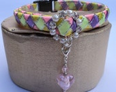 Fancy Cat Collar with Diamante Buckle and Charm in Pastel Shades