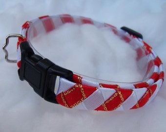 Breakaway cat collar Red and White Candy Cane