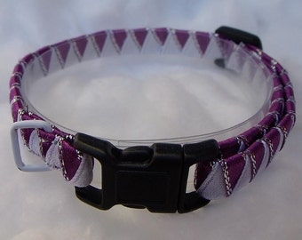 Breakaway Cat Collar Purple and White zig zag