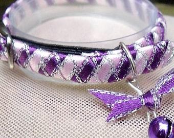 Tiny kitten collar pink and purple stripe