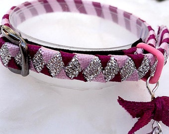 Tiny kitten collar Pink and Silver