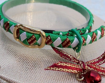 Teeny tiny elasticated kitten collar Green Red and White