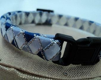 Blue Breakaway Cat Collar with White Diamonds