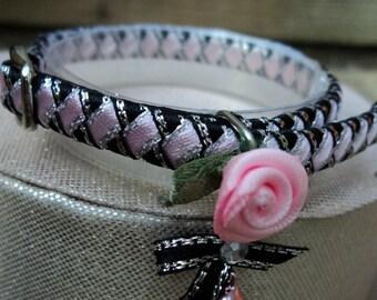 Kitten Collar Black with Pink Diamonds and Romantic Rose