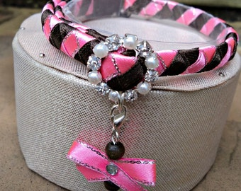 Designer Cat Collar Breakaway Style Hot Pink and Chocolate