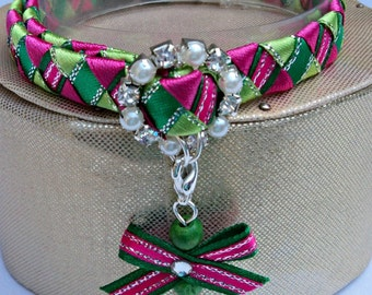 Cat Collar Diamante Breakaway Tartan Effect