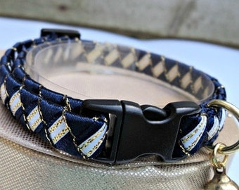 Breakaway Cat Collar in Navy Blue White and Gold