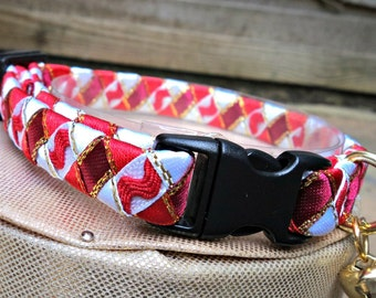 Cat Collar Designer Breakaway Red and White