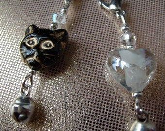 Cat Collar Charms x 2 Black and White
