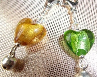Cat Collar Charms x 2 Yellow and Green