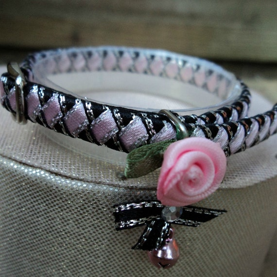 Kitten Collar Black with Pink Diamonds and Romantic Rose