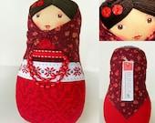 BUNIKAART Red Rose Folk Hand painted Doll