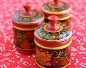 Reserved for Mehrlitch Vintage Urkrainian Wooden Petrykivka Salt, Pepper and Sause set