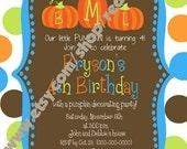 Our Little Pumpkin Birthday Invitations for Boys with Monogrammed Pumpkins