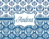 Personalized Shower Curtain - Custom with your Name or Initials - BLUE MINUET