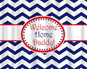 Personalized Shower Curtain - Red White and Blue Chevron -Americana Colors Personalized or with Welcome Home Message