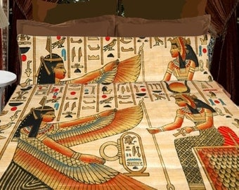 Egyptian Designer Bedding - Duvet  or Comforter and two matching Shams, Queen or King Size