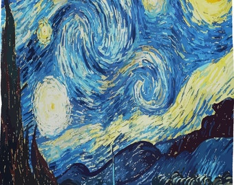 Starry Night Blanket - Plush Fleece -Reproduction design - SALE PRICING