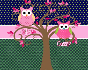 Personalized Shared Shower Curtains featuring Owls - Shown in PREPPY Color views