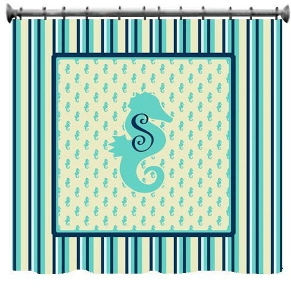 to monogrammed seahorse stripe shower curtain personalized on etsy