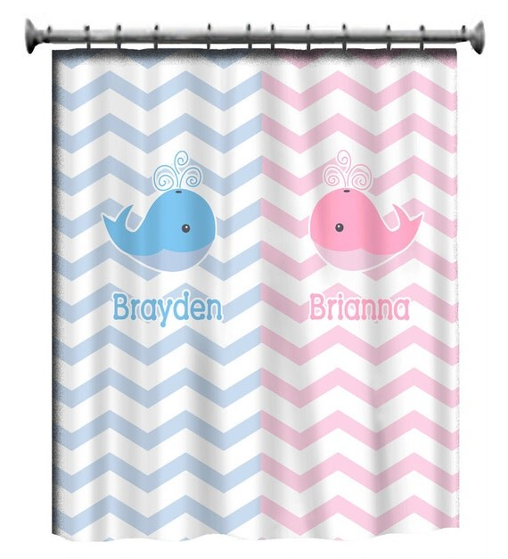 Personalized Shower Curtain - Pink and Blue -Shared Curtain available Chevron, Zigzag Chevron and Swoops with children's theme