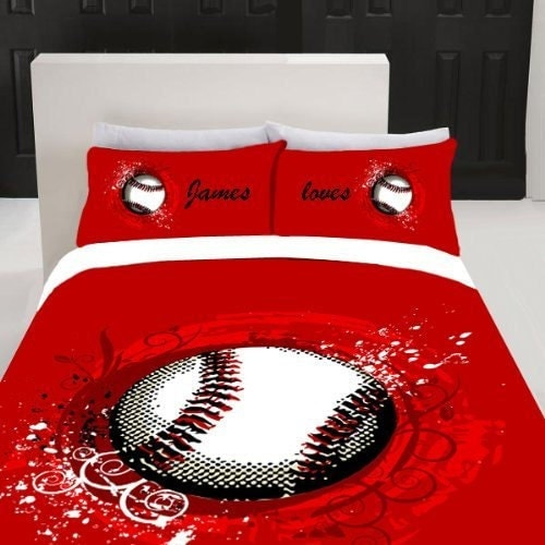 Monogrammed Red Baseball Duvet And Pillowcover Personalized