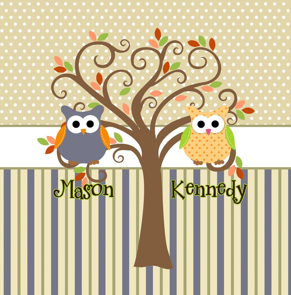 Mod Tree Owl Shower Curtain Shared Bathrooms Colors by redbeauty