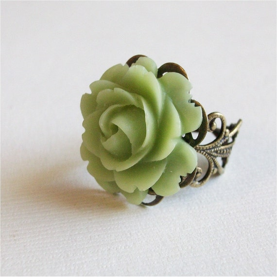 Light Green, mint green Rose Flower Ring on Antiqued Brass filigree, FREE SHIPPING ETSY, A Rose is a Rose Ring series