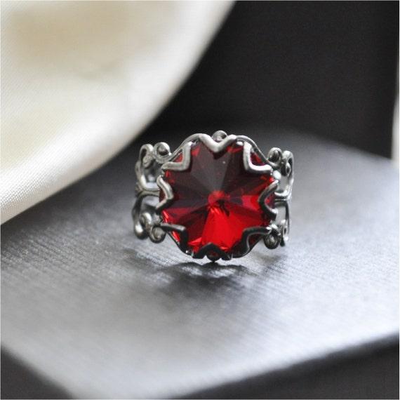 THANKSGIVING SALE Blood Red Swarovski Crystal Ring in Gunmetal Black Filigree Band, Free Shipping, Captured