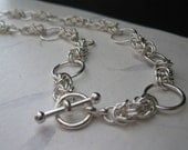 Byzantine Style Necklace Combined with Large Round Rings in Sterling Silver