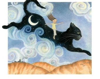"Surreal Art Print, limited edition - ""Cat Beginning"""