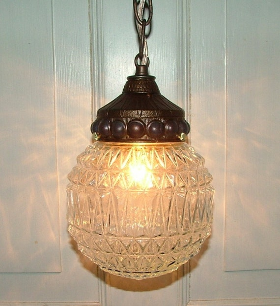 Vintage Crystal Cut Retro Glass Globe Hanging Light