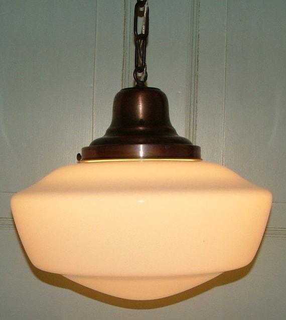Antique Art Deco Milk Glass School House Ceiling Light
