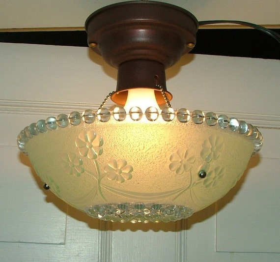 Vintage Antique Glass Hanging Ceiling Light Shade By