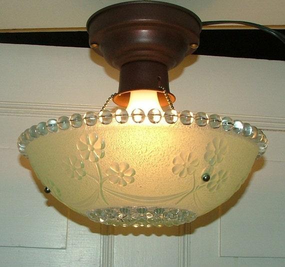 Vintage Green Glass Light Fixture: Vintage Antique Glass Hanging Ceiling Light Shade Fixture