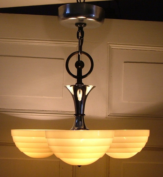 Hanging Light Fixture Glass Shades: Antique Art Deco Lighting Fixture Custard Glass Slip Shade