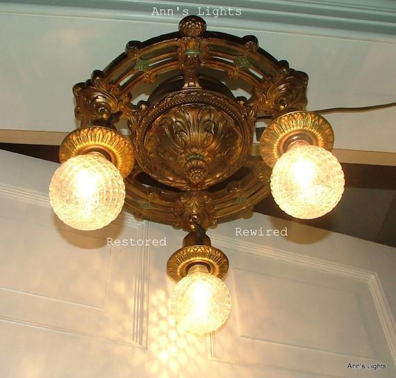 vintage antique lighting fixture exposed bulb ceiling lamp art