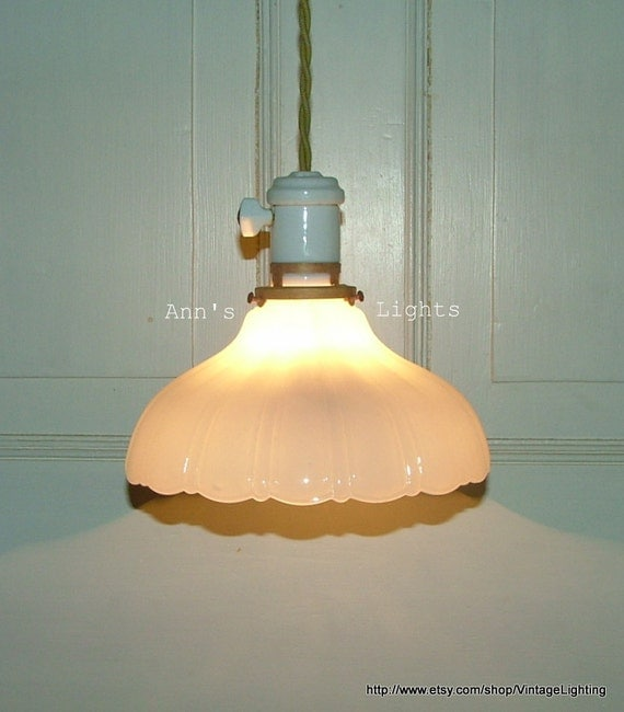 Vintage Industrial Glass Pendant Light: Antique Industrial Light Vintage Hanging Pendant By AnnsLights
