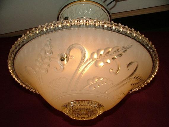 Antique 1930's Porcelier 3 Chain Hanging Ceiling Light