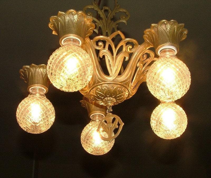 Antique art deco nouveau chandelier hanging ceiling light for Chandelier art nouveau