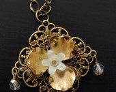 Garden Bloom Vintage Brass Beaded Flower Necklace-SALE-was 29.95