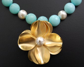 Tropical Afternoon-Vintage  Brass Flower Aquamarine Beaded Amazonite Necklace