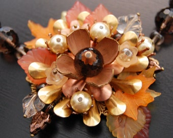 Autumn Festival Necklace-Vintage Brass Flower, Leaf and Faceted Smokey Quartz Beaded Necklace