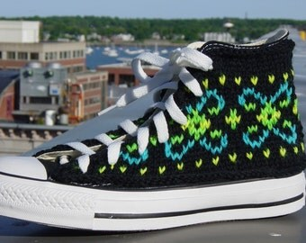Fluorescent Fair Isle Knit Chucks
