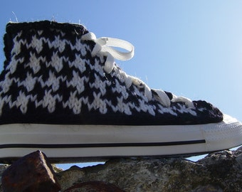 Houndstooth Knit Chucks, women's size 7 only