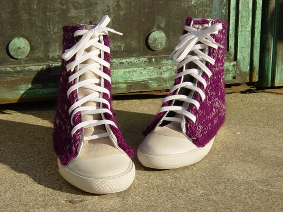 Purple Sparkle Extra-High Tops, women's size 7.5 only