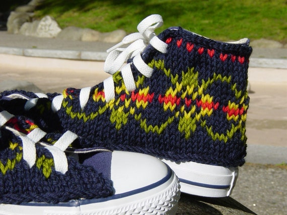 Fair Isle Knit Chucks, women's size 7 only