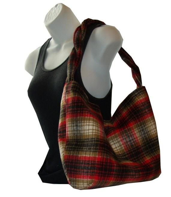 Hunters Red Wool Plaid Hobo Slouch Handbag rope strap